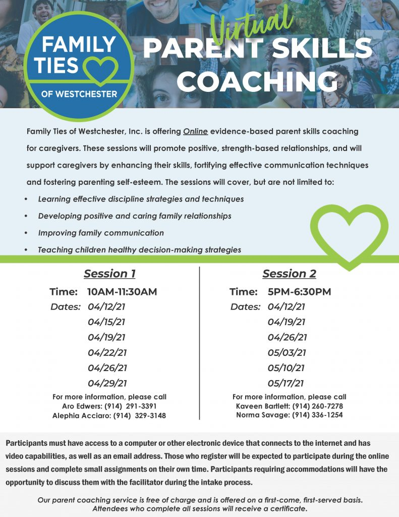 A flyer describing virtual parent skills coaching and the dates they are offered.
